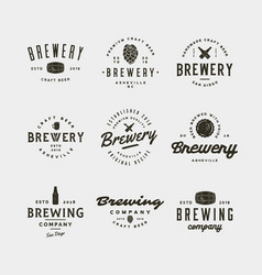 set of vintage brewery logos vector image