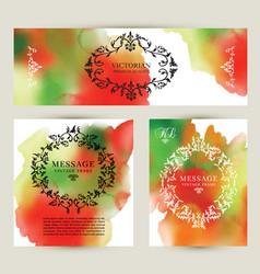 set watercolor labels design elements vintage vector image