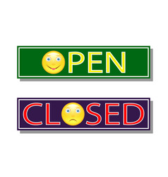 signs open and closed with images of emoticons vector image