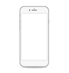 silver phone white screen realistic vector image