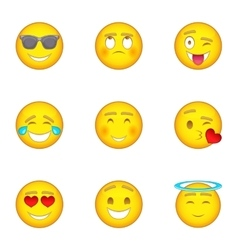 Smiley icons set cartoon style vector