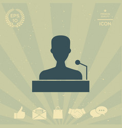speaker orator speaking from tribune icon vector image