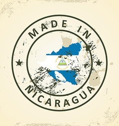 Stamp with map flag of Nicaragua vector image