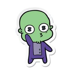 Sticker of a waving weird bald spaceman vector