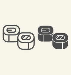 sushi line and glyph icon asian cuisine vector image