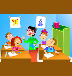 teacher and student in the classroom vector image