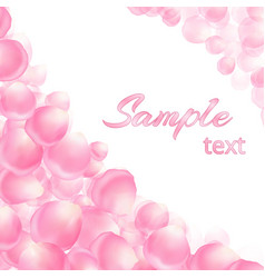 template for text with pink petals vector image