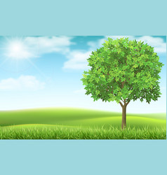 Tree on landscape background vector