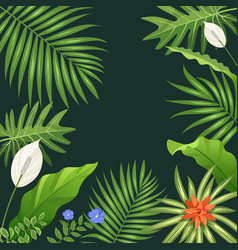 tropical green leaf and flower background vector image