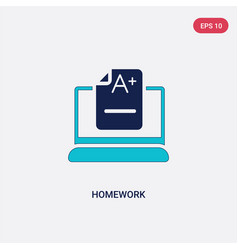 Two color homework icon from e-learning and vector