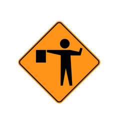 Usa traffic road signs a flagger is stationed vector