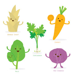 Vegetable cartoon cute set vector