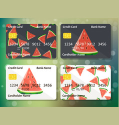 Watermelon on frontal side of credit card vector