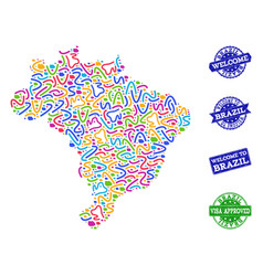 Welcome composition of mosaic map of brazil and vector
