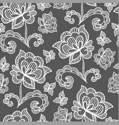 white seamless lace pattern with rose on vector image
