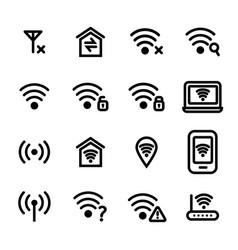 wifi wreless black thin line icon set vector image