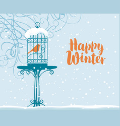 winter banner with bird in cage under branches vector image