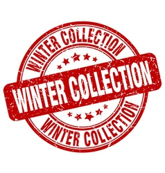 Winter collection red grunge round vintage rubber vector