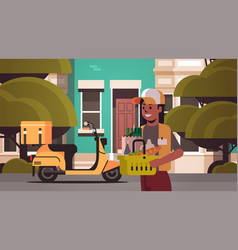 Woman courier holding basket with groceries vector