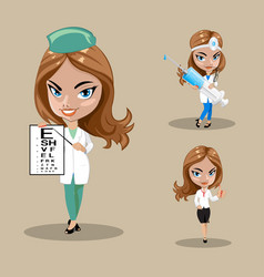 woman doctor or nurse in a set of three vector image