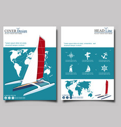 Yacht club flyers design with sport trimaran vector