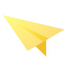 Yellow paper plane icon isometric style vector