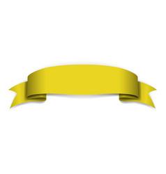Yellow ribbon banner satin blank design label vector