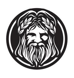 Zeus greek god head logo vector