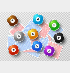 lottery balls and bingo lucky tickets isolated on vector image