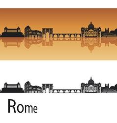Rome skyline in orange background vector image