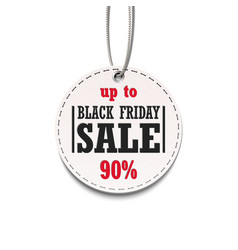 black friday sale up to 90 tag isolated on a vector image vector image