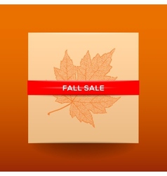 Fall sale poster with dried leaves and simple text vector image vector image