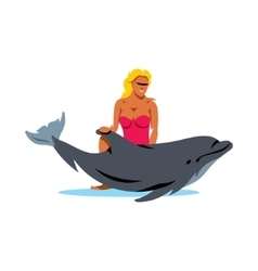 Girl with Dolphin Cartoon vector image vector image