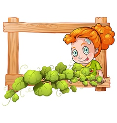 A frame with vine plants and a young girl vector image vector image