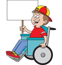 Cartoon Wheelchair Boy Sign vector image