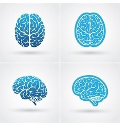 Four brain icons vector image vector image