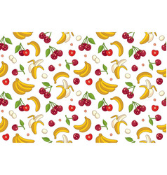 Seamless pattern with cherries and bananas vector