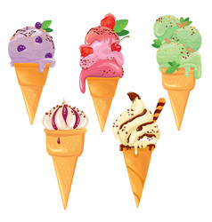 set of ice cream cones with glaze chocolate vector image