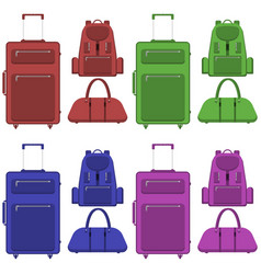 travel suitcase bag and backpack in different vector image
