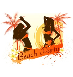 Beach party background with two dancing girls vector image vector image