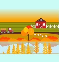 farm village autumn season with lake background vector image