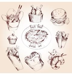 Fast food sketch set vector image vector image