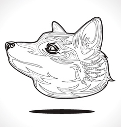 fox outline vector image