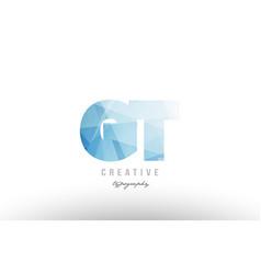 gt g t blue polygonal alphabet letter logo icon vector image
