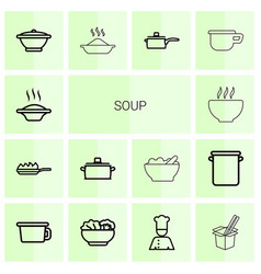14 soup icons vector image