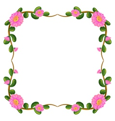 A floral border with pink flowers vector image