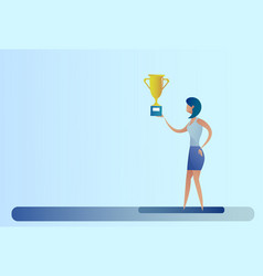 Abstract business woman hold prize winner cup vector