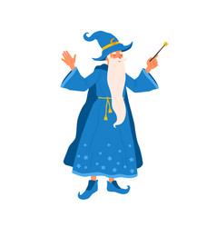 aged bearded mage conjure with magic wand vector image