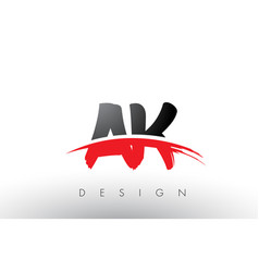 Ak a k brush logo letters with red and black vector