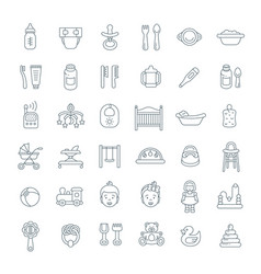 Baby care flat line icons vector